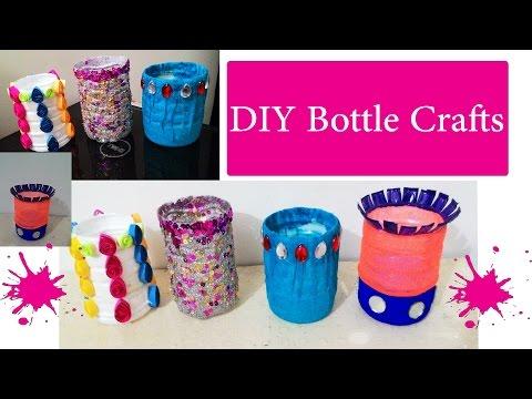 4 DIY waste bottle crafts   DIY bottle pen holder