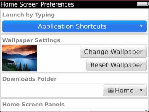 Setting Home Screen shortcuts and Universal Search on BlackBerry 7