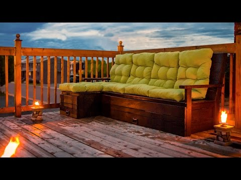 DIY Outdoor Wood sectional sofa/bench with storage - Construction divan extérieur bois