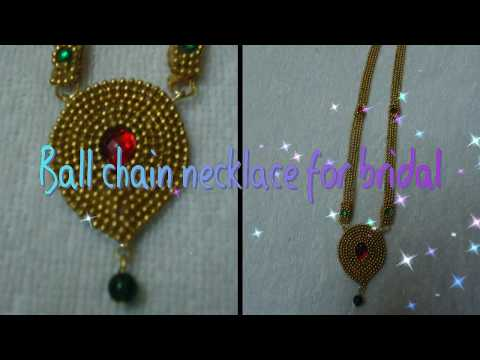 How to make ball chain necklace for bridal at home//ball haram making