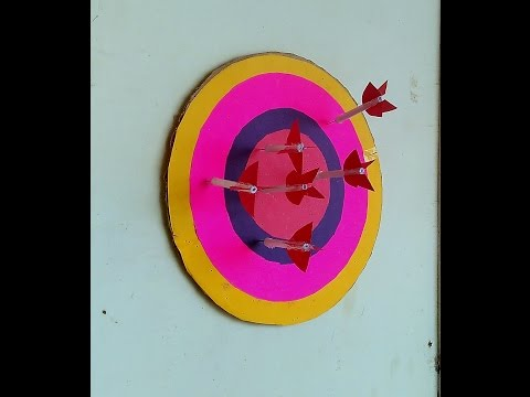 How to Make Paper Darts and Dartboard or Target Circle and Arrow - Easy - toy for kids story game