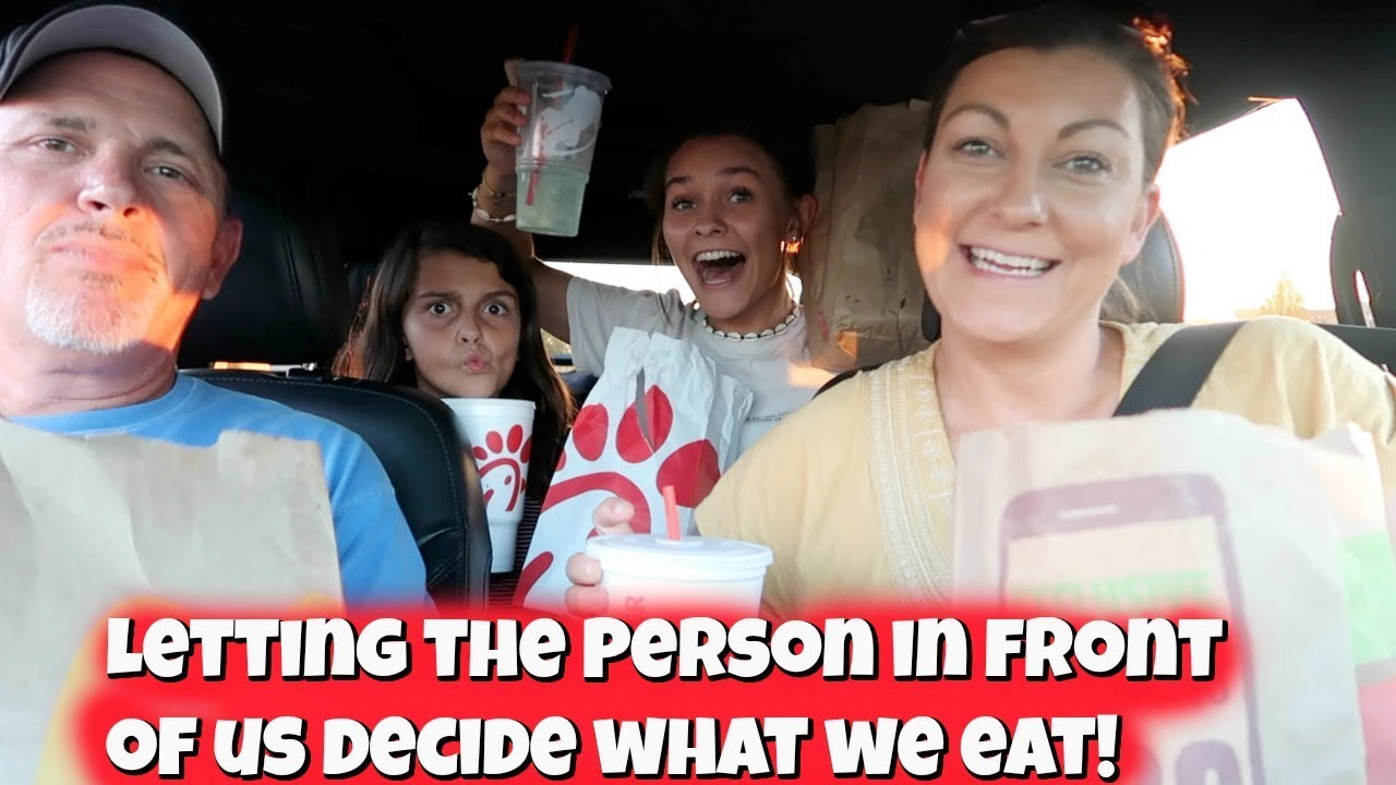 Letting The Person In FRONT Of Me DECIDE What We Eat for 24 HOURS! | Emma and Ellie