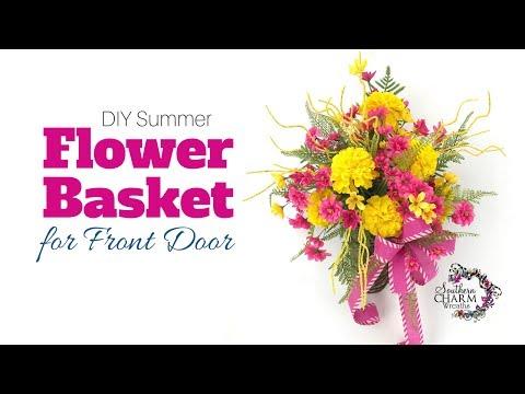 DIY Silk Flower Summer Flower Basket for Front Door