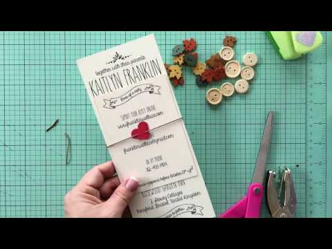 How to make a paper heart invitation belly band