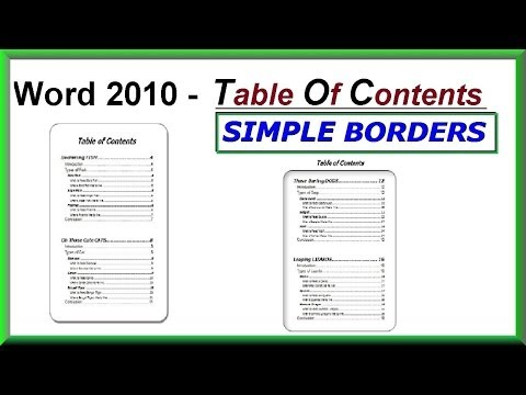 Word 2016, 2013 & 2010 - Using SIMPLE BORDERS for a Table of Contents