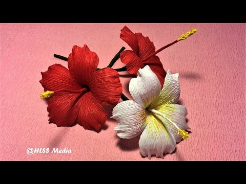 How to make beautiful origami hibiscus paper Flower /crepe paper Flower making ,Craft paper tutorial