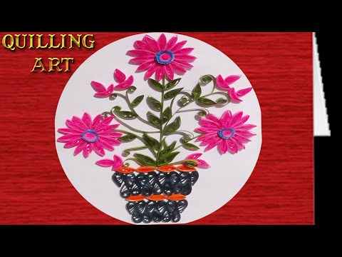 quilling flower   How to make pink colored flower plant design
