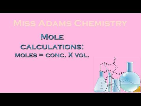 National 5:  Mole Calculations:  Moles = concentration X volume