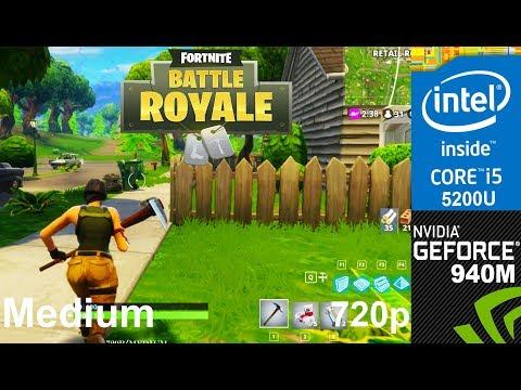 Fortnite on 940m + Core i5 5200u HP Pavilion 15 ab032TX Laptop, Medium Setting, 720p