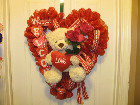 How To Make A Big Teddy Bear Heart Deco Mesh Wreath