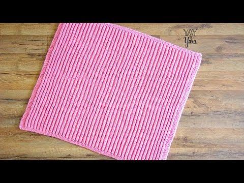 Easy Brioche Baby Blanket - Free Knitting Pattern by YayForYarn - Learn SHORTCUT Brioche Stitch