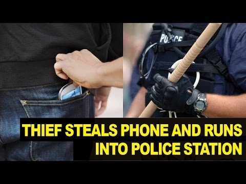 DUMB Thief Steals Woman's Phone, RUNS into Police Station