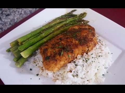 How to make Pan Fried Cod Fish and Asparagus over Rice