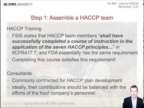 Preliminary Tasks of HACCP