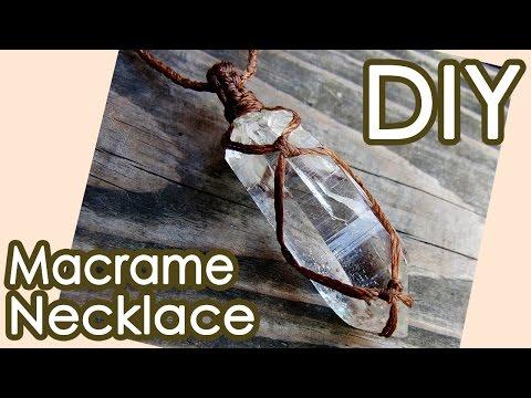 DIY:Crystal point Macrame necklace Tutorial 水晶ポイントマクラメ包み編みネックレスの作り方