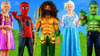 Kids Pretend Play with Superhero & Princess Costumes to Learn the Alphabet | ABC Songs