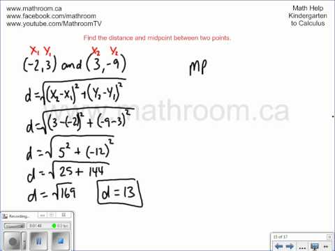 Find the distance and midpoint between two points