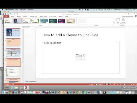 How to Apply a Theme to One Slide Using PowerPoint 2013 (MAC and PC)