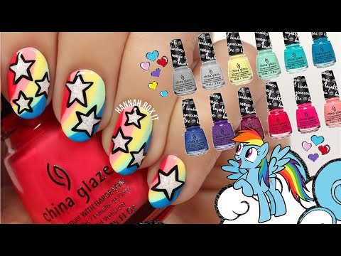 Rainbow Star Nails + My Little Pony X China Glaze Swatches!