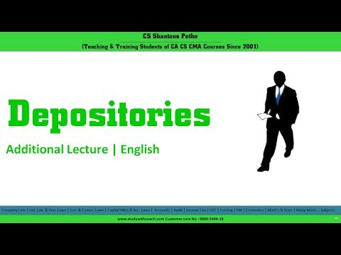 Concept of Depositories explained by CS Shantanu Pethe   in English   CS executive   CMSL