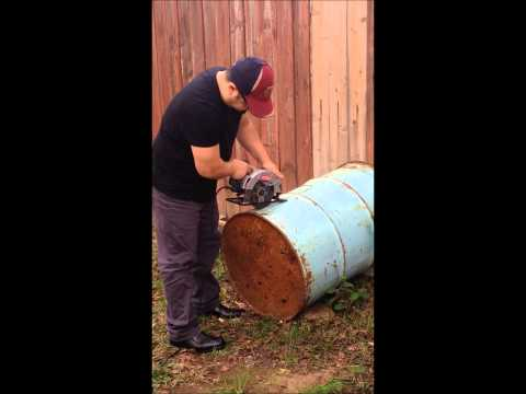 how to cut barrel for bbq with sircular saw
