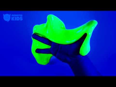DIY Neon Slime ! Dark Slime Putty | MonsterKids