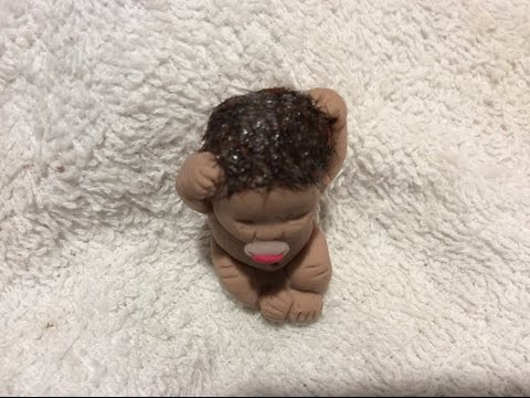 DIY hair miniature clay baby made of polymer clay how to tutorial