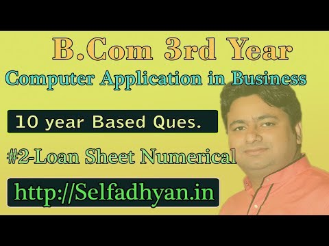 #2 Loan Sheet Based Exam Question - BCOM 3rd Year - Computer Application in Business with PDF