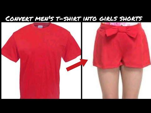 DIY: CONVERT OLD MENS T-SHIRT INTO GIRLS SHORTS||