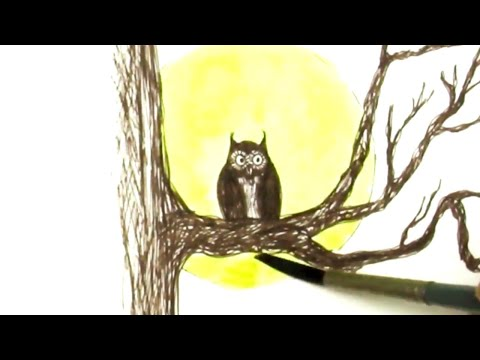 Pen and Ink NO Pencil Drawing Tutorial Spooky Tree, Owl and Full Moon