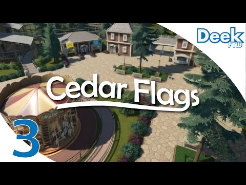 Let's Design Cedar Flags Ep.3  - Designing the Entrance Plaza, Shops, and Carousel - Planet Coaster