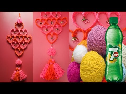 Plastic Bottle Wall hanging ShowPiece Unique Craft Idea from Plastic bottle and Woolen