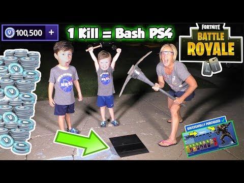 1 kill = Smashed PS4 Fortnite Kid vs Angry Mom in Battle Royal | DavidsTV