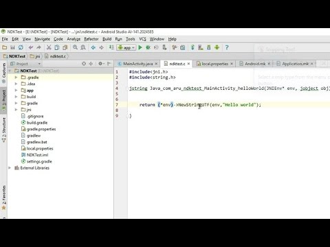 Using Native code (C,C++) in Android applications using NDK