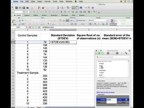 How to quickly calculate Standard Error of the Mean (SEM) using Excel