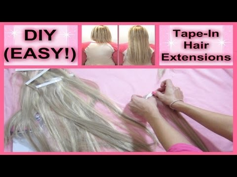 52 Weeks of Beauty - 2013 Week 7 - DIY How to Make and INSTALL Tape-In Hair Extensions at Home!
