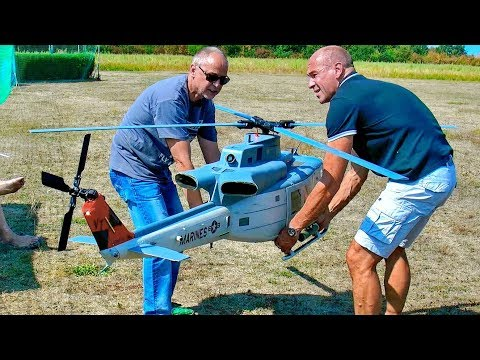 AMAZING STUNNING HUGE RC BELL UH-1Y HUEY TURBINE SCALE MODEL HELICOPTER FLIGHT DEMONSTRATION