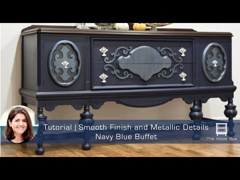 Speedy Tutorial #12 - Refinishing a Buffet with Milk Paint and Metallic Details