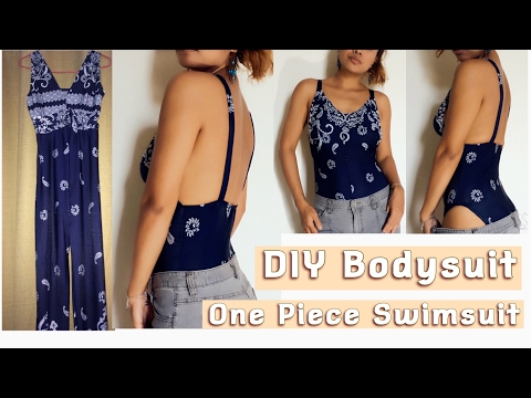 DIY Bodysuit One Piece Swimsuit From Old Clothes-TGK/029