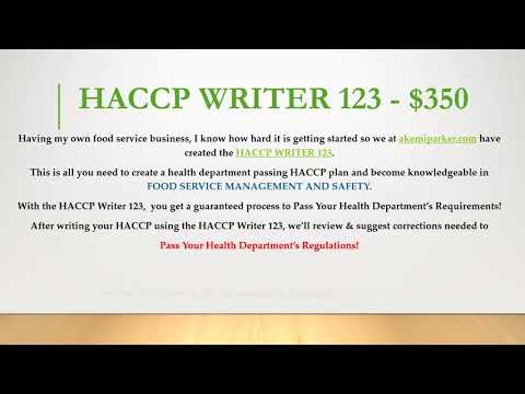 HACCP WRITER 123 Commercial  - sample haccp plan