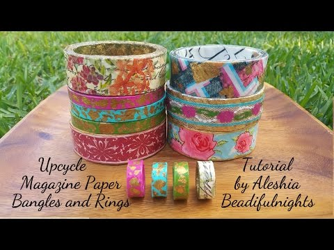 Upcycle Magazine Paper Bangles and Rings Tutorial