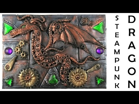 Steampunk dragon journal cover - polymer clay TUTORIAL