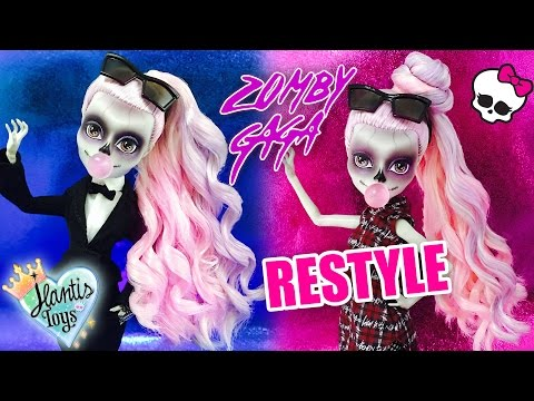 HOW TO FIX & CURL Zomby Gaga Doll Hair RESTYLE TUTORIAL | Monster High | Doll Hair Styling