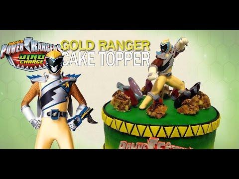 Power Rangers Dino Charge Gold Ranger Cake Topper, how to make fondant figure!