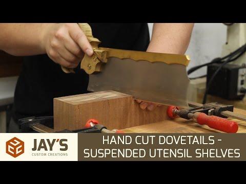 Hand Cut Dovetails - Suspended Utensil Shelves - 256