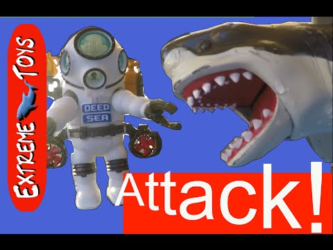 Great White Shark Attack!  Great White Shark Toy attacks a toy Diver.