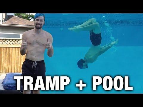 INSANE TRAMPOLINE POOL FLIPS !!! (with crazy parkour tricks)
