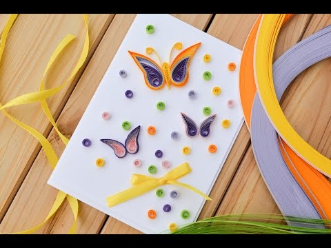 How to Make - Easy Greeting Card Quilling Butterfly - Step by Step | Kartka Motyl