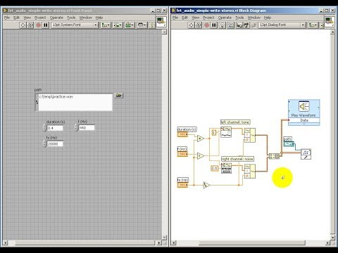 Read/write audio files in LabVIEW: Write stereo .wav file