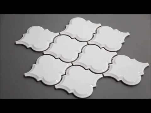 Beveled Whisper White Arabesque Mosaic Tile